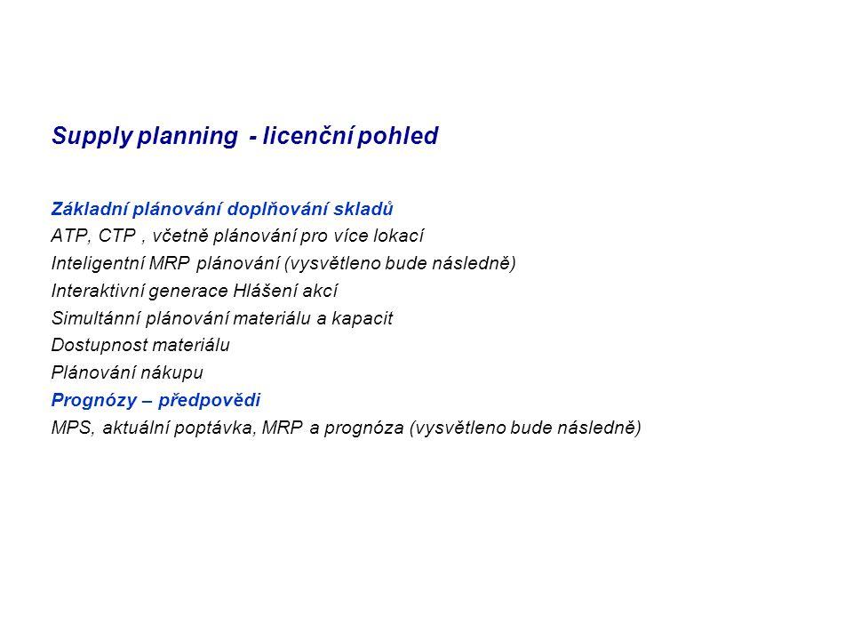 Supply planning - licenční pohled