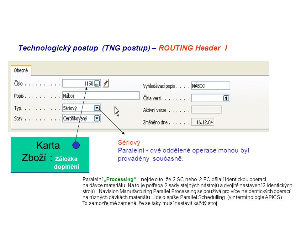 Technologický postup (TNG postup) – ROUTING Header I