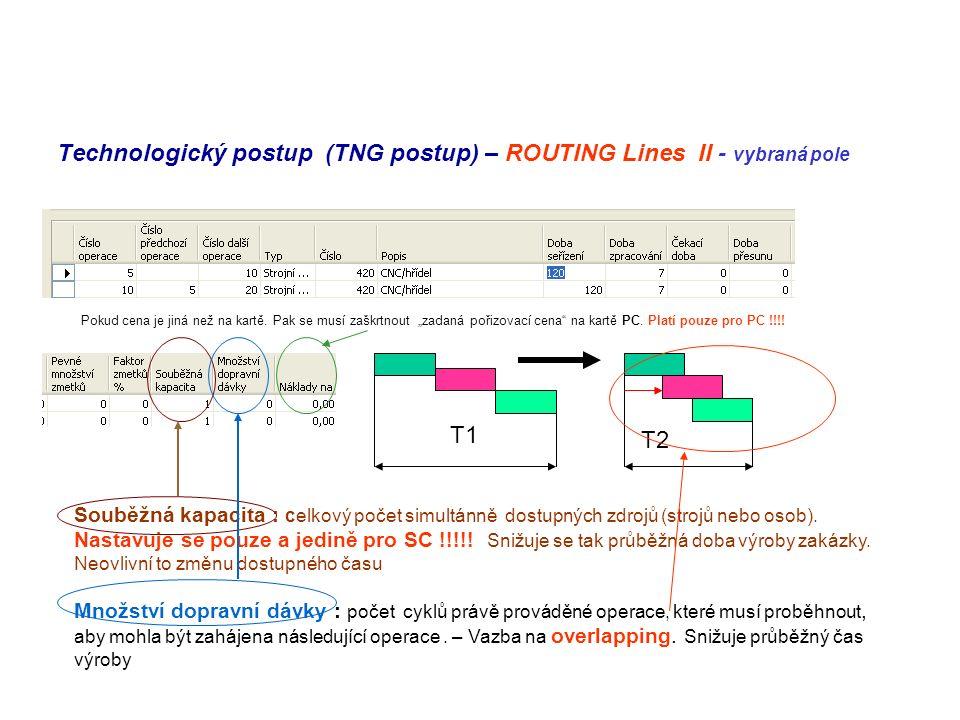 Technologický postup (TNG postup) – ROUTING Lines II - vybraná pole