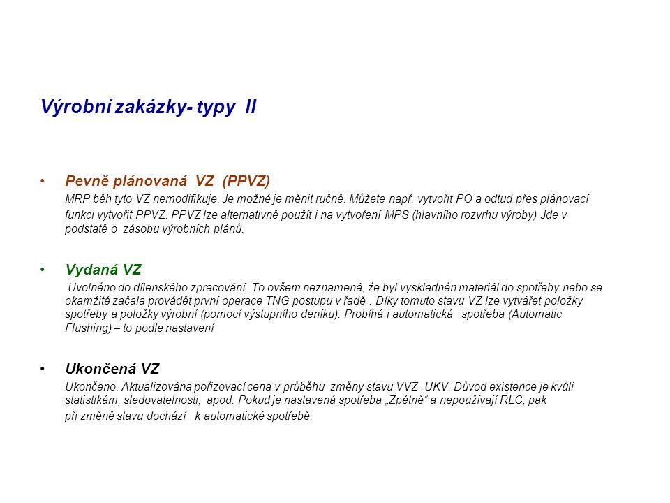 Výrobní zakázky- typy II