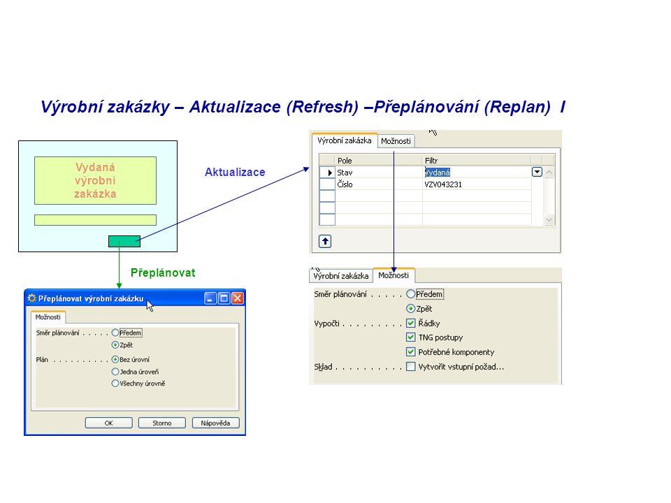 Výrobní zakázky – Aktualizace (Refresh) –Přeplánování (Replan) I