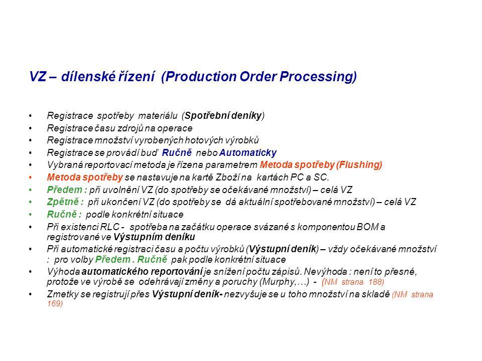 VZ – dílenské řízení (Production Order Processing)