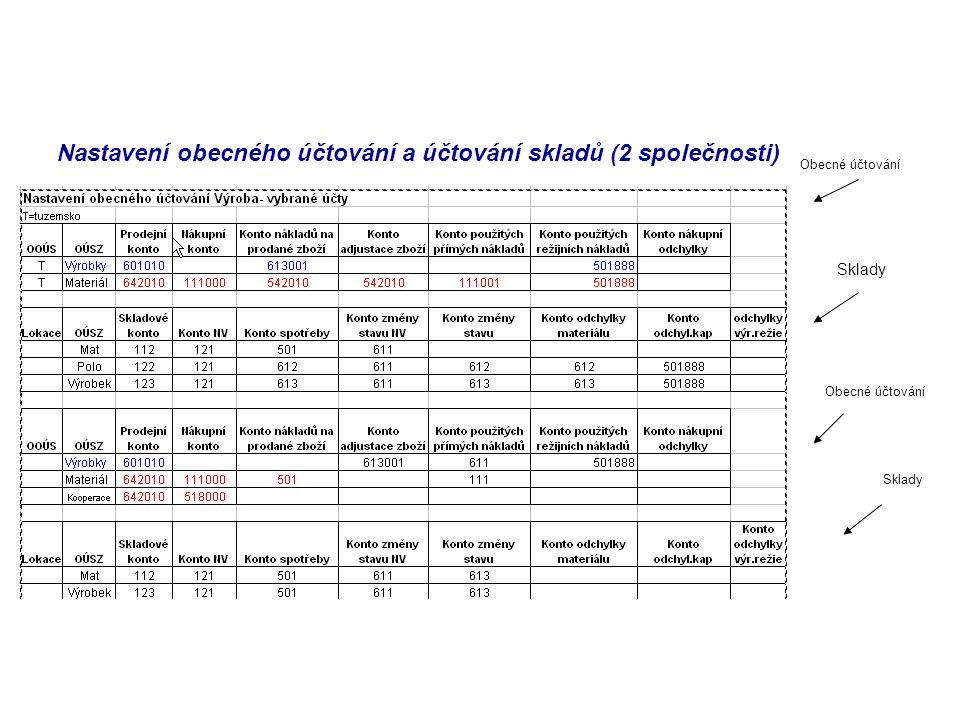 Nastavení obecného účtování a účtování skladů (2 společnosti)