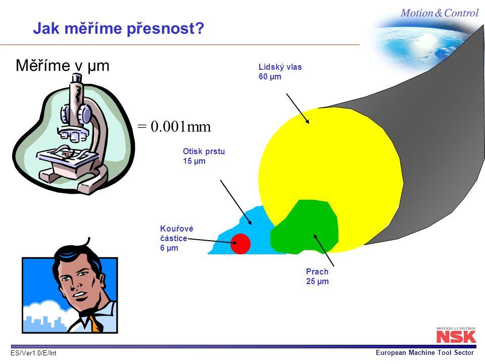 Jak měříme přesnost Měříme v µm = 0.001mm Lidský vlas 60 µm