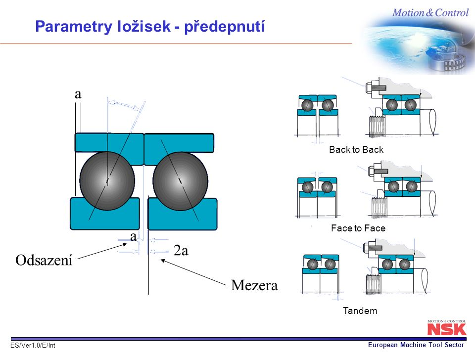 Parametry ložisek - předepnutí