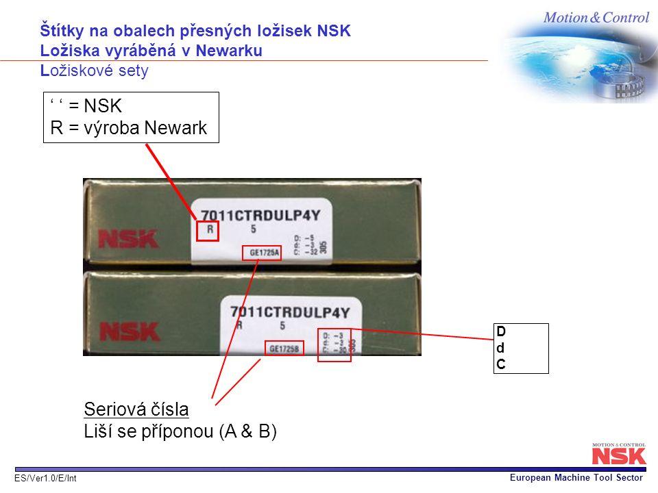 ' ' = NSK R = výroba Newark Seriová čísla Liší se příponou (A & B)