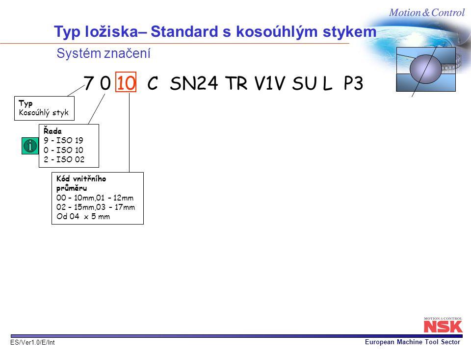 Typ ložiska– Standard s kosoúhlým stykem