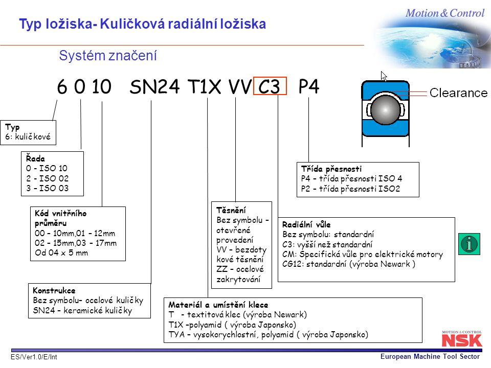 6 0 10 SN24 T1X VV C3 P4 Typ ložiska- Kuličková radiální ložiska