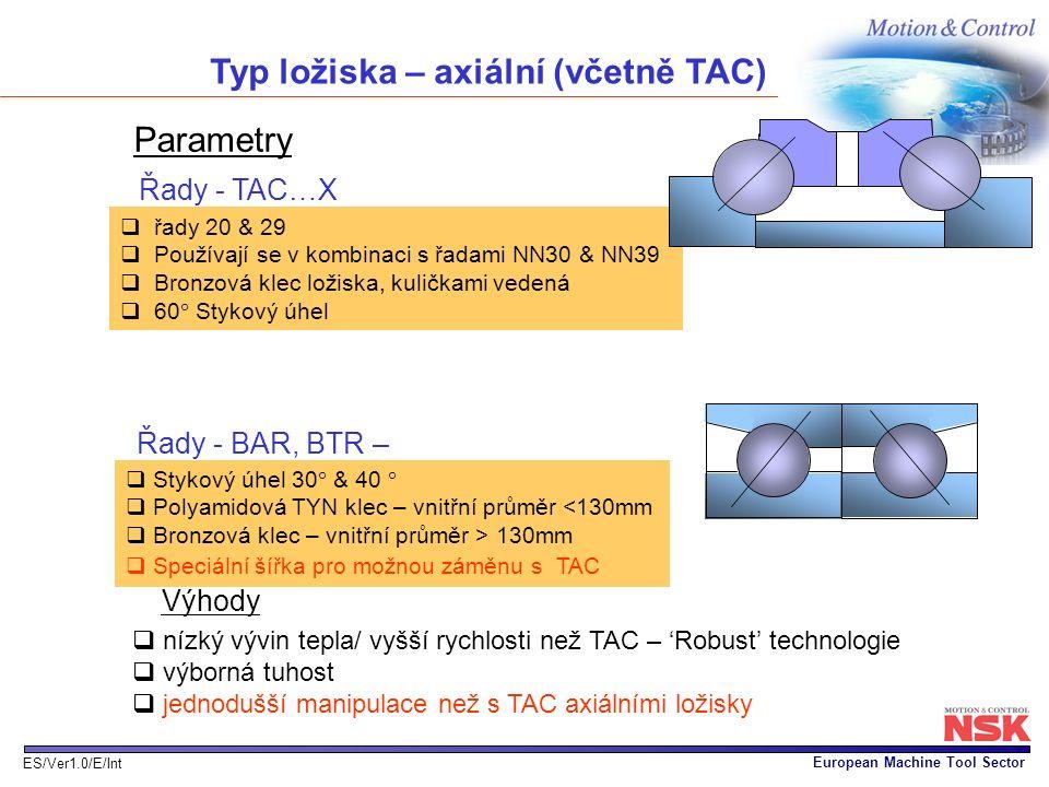 Typ ložiska – axiální (včetně TAC)