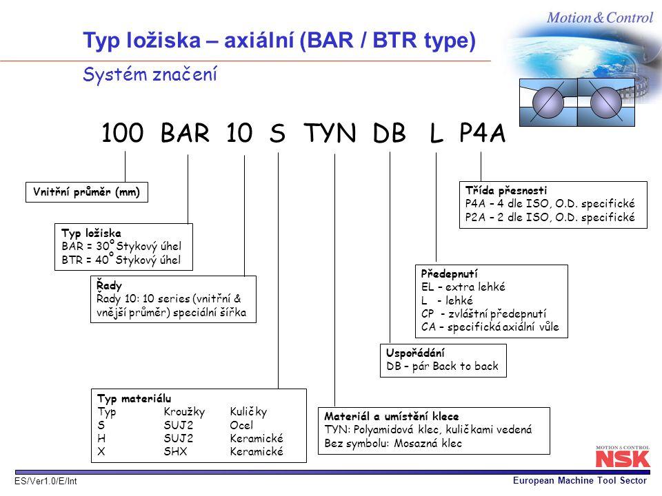 Typ ložiska – axiální (BAR / BTR type)