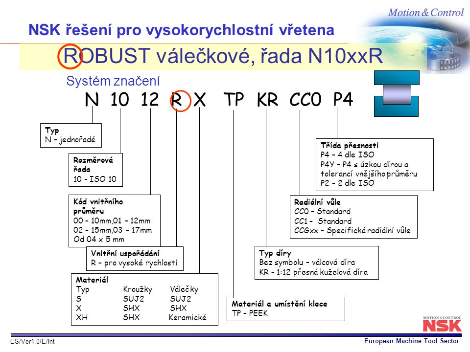 NSK řešení pro vysokorychlostní vřetena