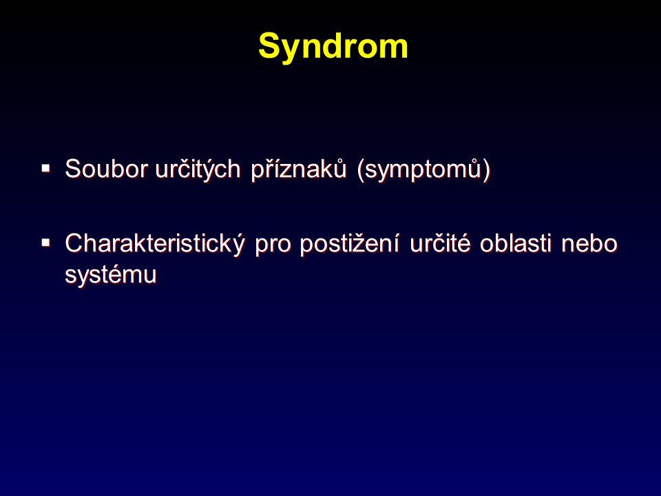 Syndrom Soubor určitých příznaků (symptomů)