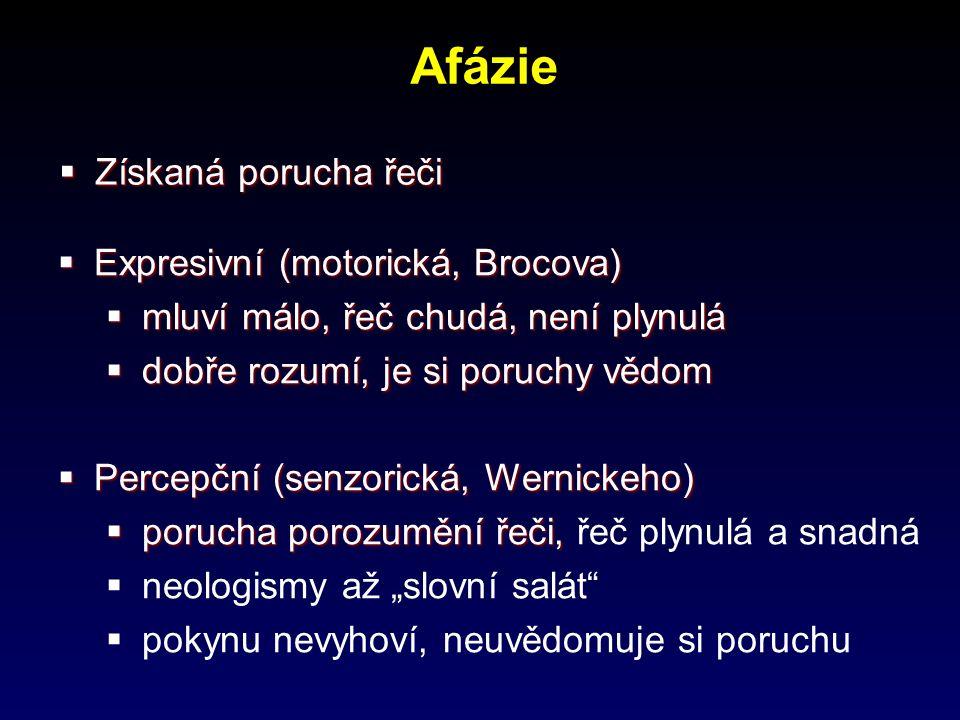 Afázie Získaná porucha řeči Expresivní (motorická, Brocova)