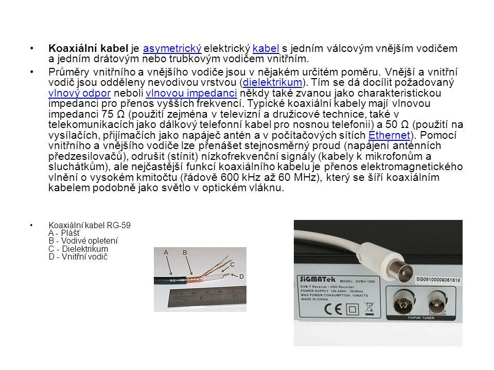 Koaxiální kabel je asymetrický elektrický kabel s jedním válcovým vnějším vodičem a jedním drátovým nebo trubkovým vodičem vnitřním.