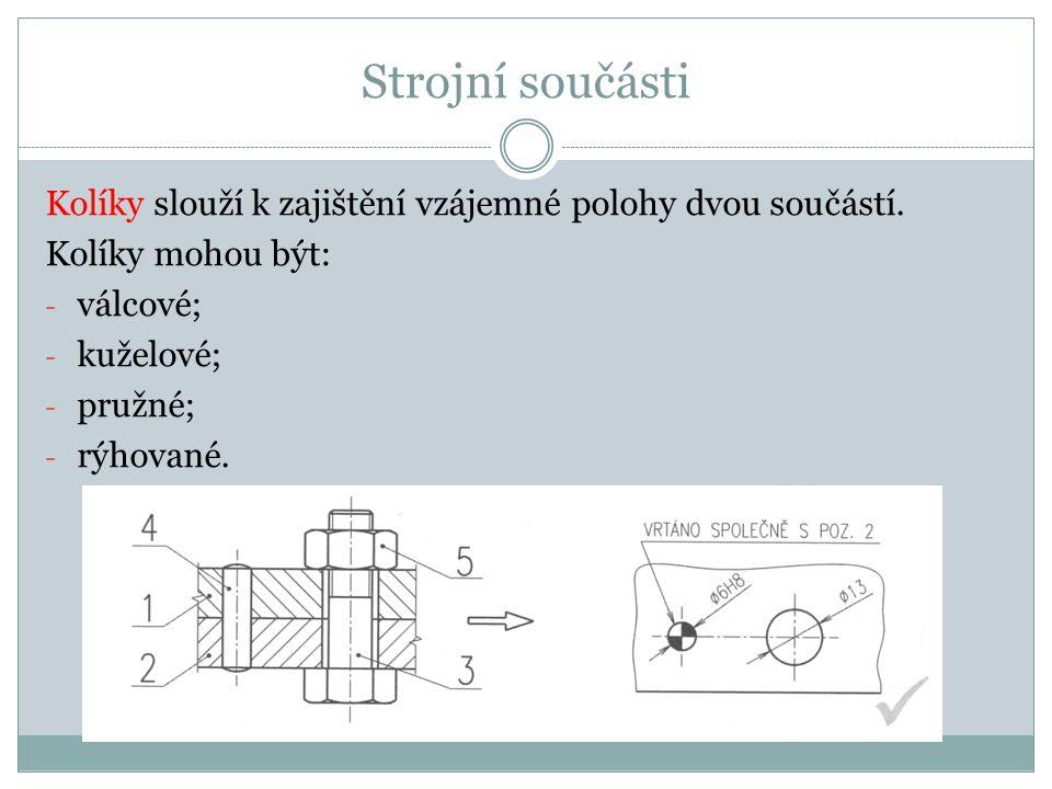 Strojní součásti Kolíky slouží k zajištění vzájemné polohy dvou součástí. Kolíky mohou být: válcové;