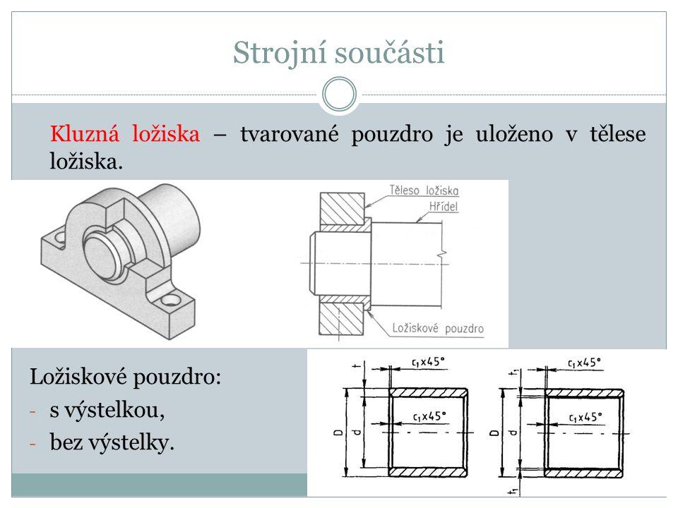 Strojní součásti Kluzná ložiska – tvarované pouzdro je uloženo v tělese ložiska. Ložiskové pouzdro: