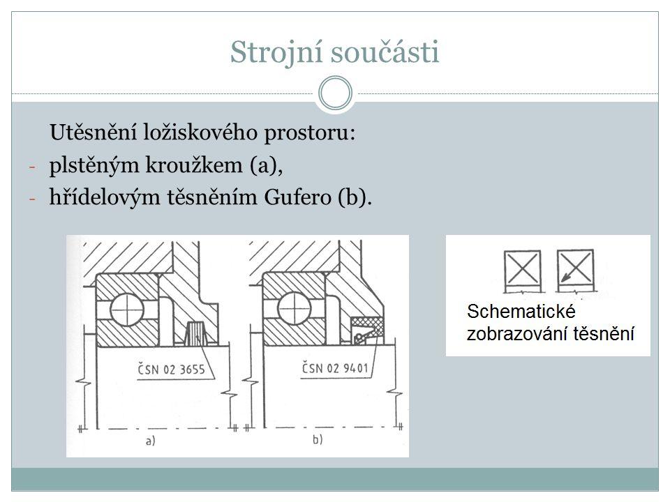Strojní součásti Utěsnění ložiskového prostoru: plstěným kroužkem (a),
