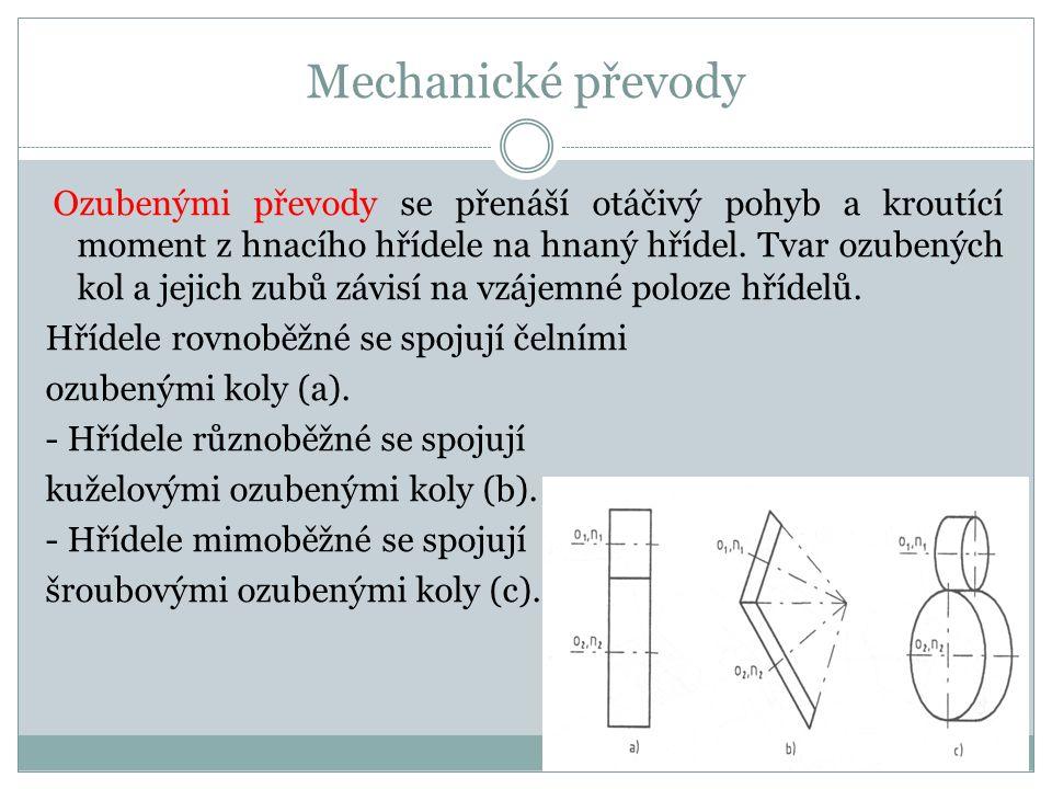 Mechanické převody Hřídele rovnoběžné se spojují čelními
