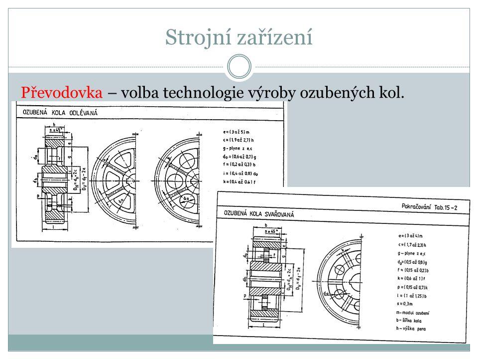 Strojní zařízení Převodovka – volba technologie výroby ozubených kol.