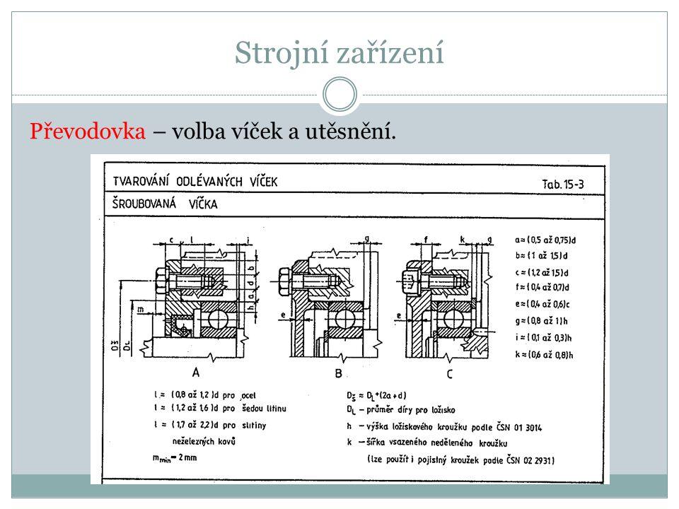 Strojní zařízení Převodovka – volba víček a utěsnění.