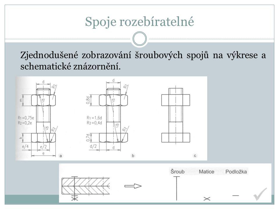 Spoje rozebíratelné Zjednodušené zobrazování šroubových spojů na výkrese a schematické znázornění.