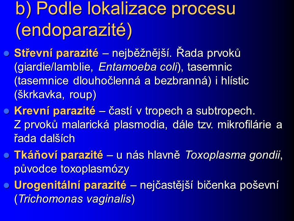b) Podle lokalizace procesu (endoparazité)