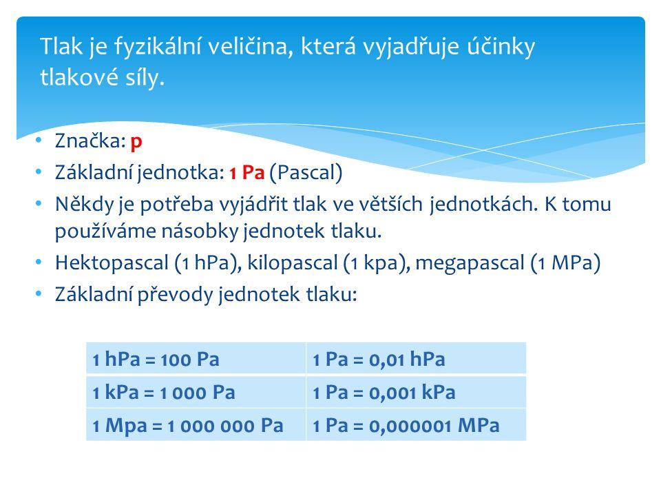 Tlak je fyzikální veličina, která vyjadřuje účinky tlakové síly.