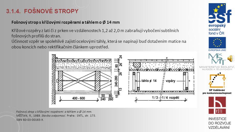 3.1.4. Fošnové stropy Fošnový strop s křížovými rozpěrami a táhlem o Ø 14 mm.