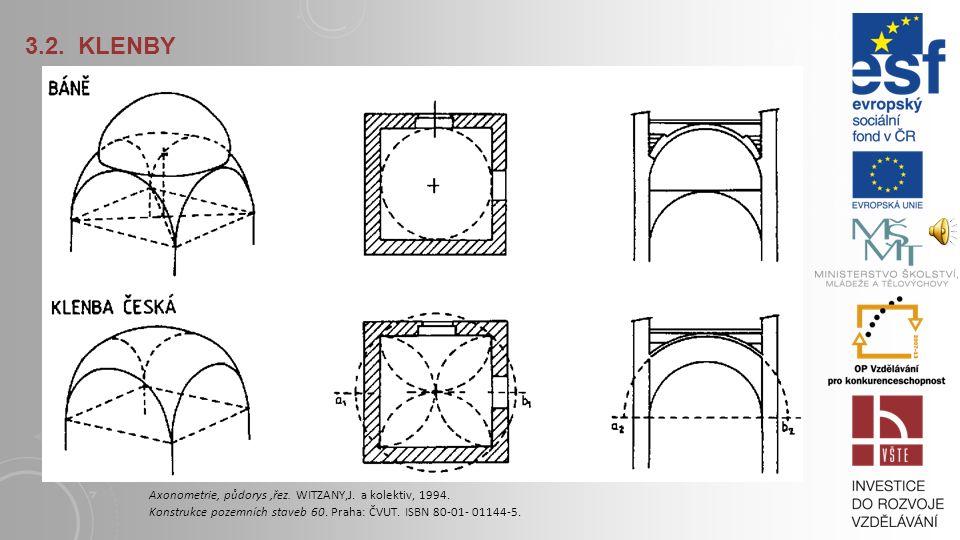 3.2. KLENBY Axonometrie, půdorys ,řez. WITZANY,J.