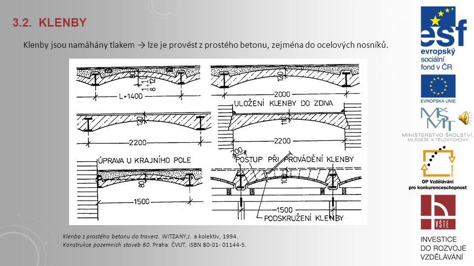 3.2. KLENBY Klenby jsou namáhány tlakem → lze je provést z prostého betonu, zejména do ocelových nosníků.