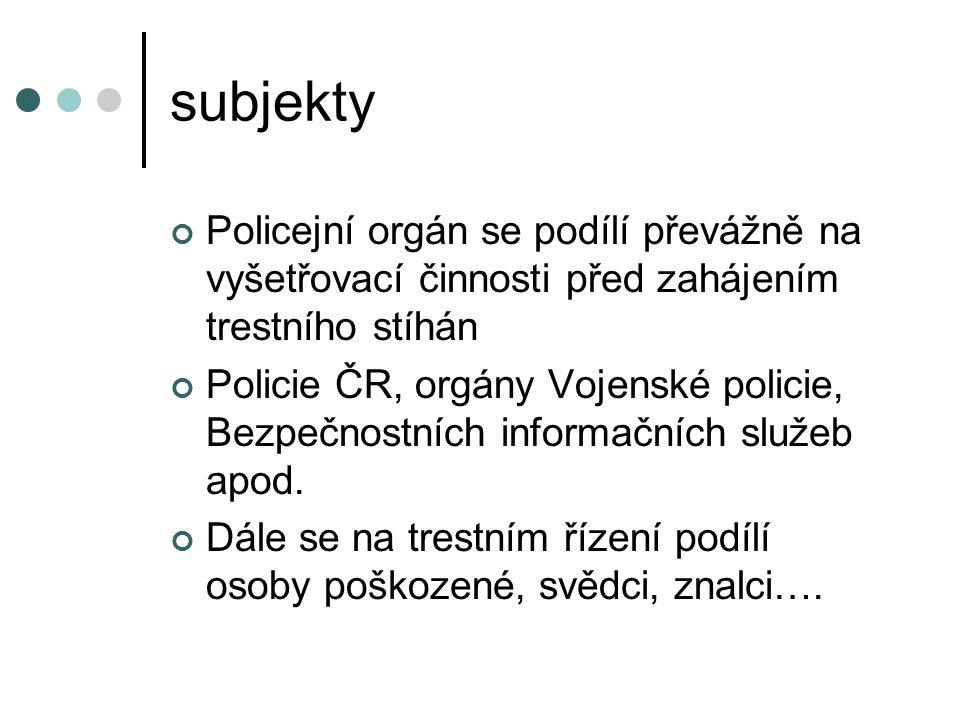 subjekty Policejní orgán se podílí převážně na vyšetřovací činnosti před zahájením trestního stíhán.