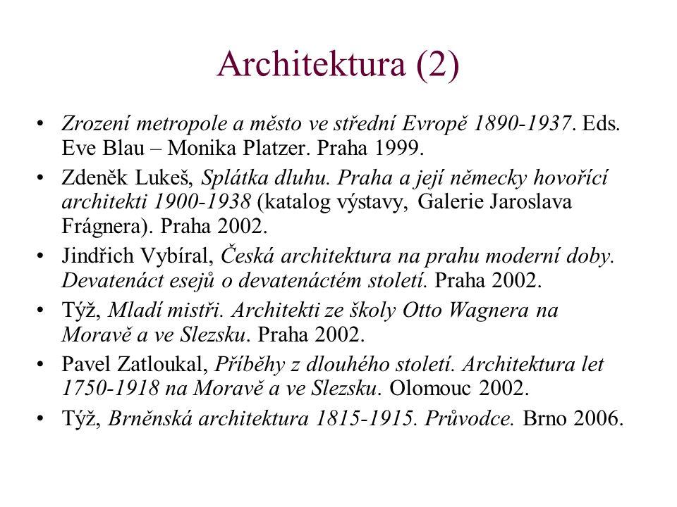 Architektura (2) Zrození metropole a město ve střední Evropě 1890-1937. Eds. Eve Blau – Monika Platzer. Praha 1999.