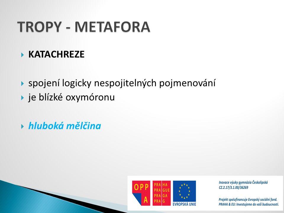 TROPY - METAFORA KATACHREZE spojení logicky nespojitelných pojmenování