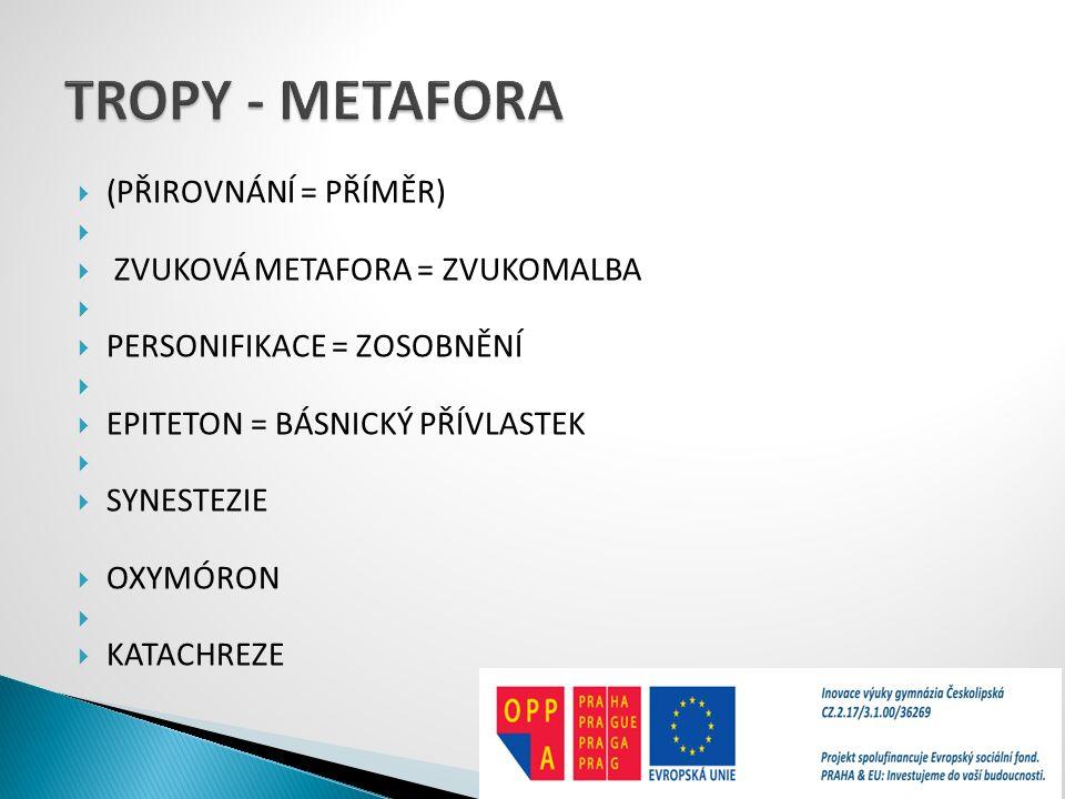 TROPY - METAFORA (PŘIROVNÁNÍ = PŘÍMĚR) ZVUKOVÁ METAFORA = ZVUKOMALBA