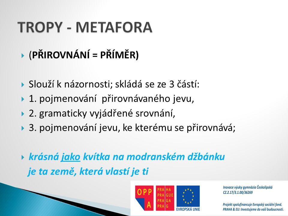 TROPY - METAFORA (PŘIROVNÁNÍ = PŘÍMĚR)
