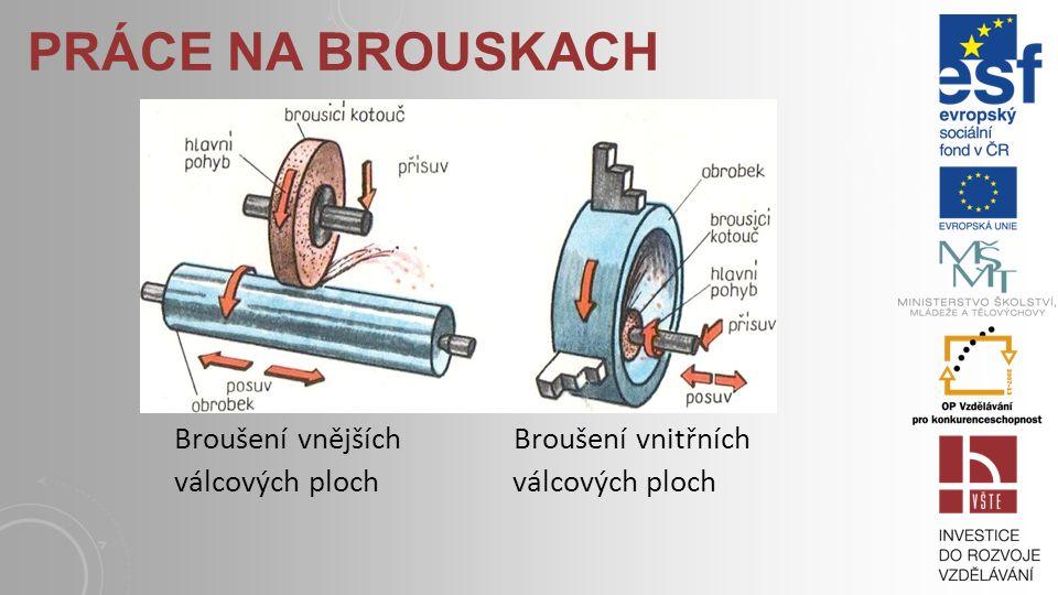 Práce na brouskach Broušení vnějších Broušení vnitřních