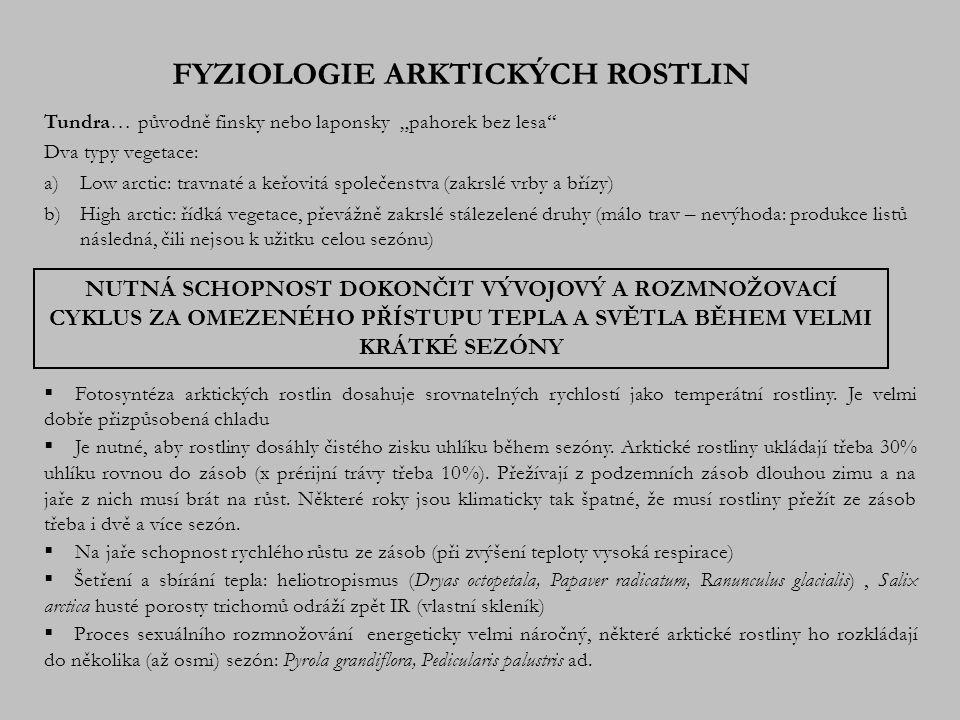 FYZIOLOGIE ARKTICKÝCH ROSTLIN