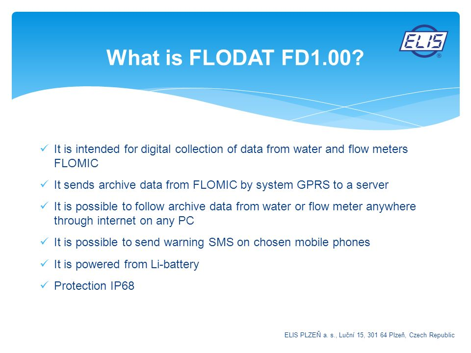 What is FLODAT FD1.00 It is intended for digital collection of data from water and flow meters FLOMIC.