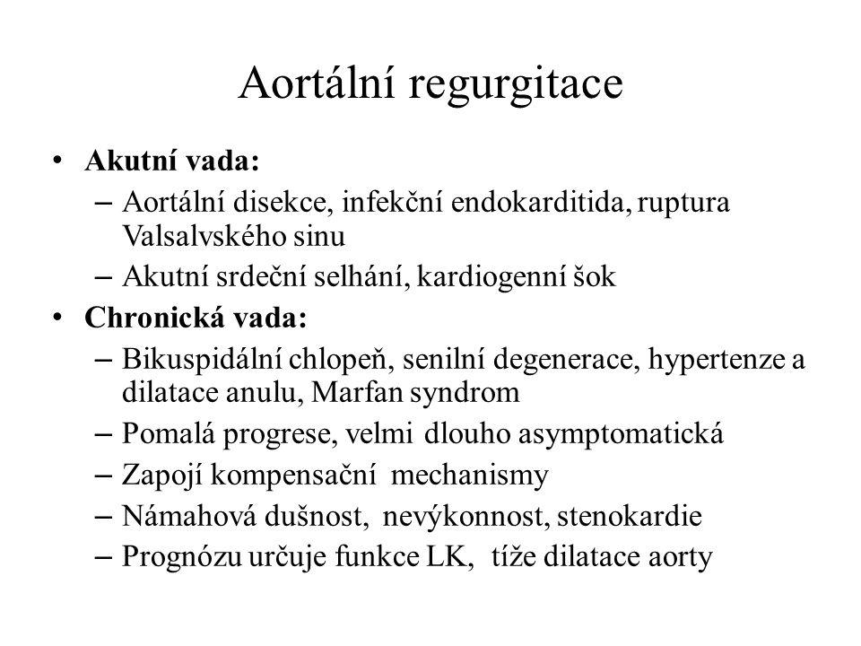 Aortální regurgitace Akutní vada: