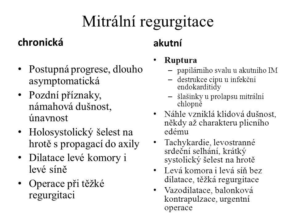 Mitrální regurgitace chronická akutní