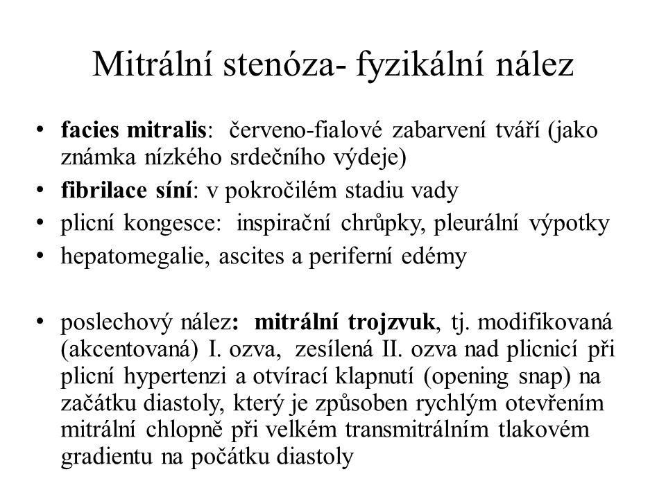 Mitrální stenóza- fyzikální nález