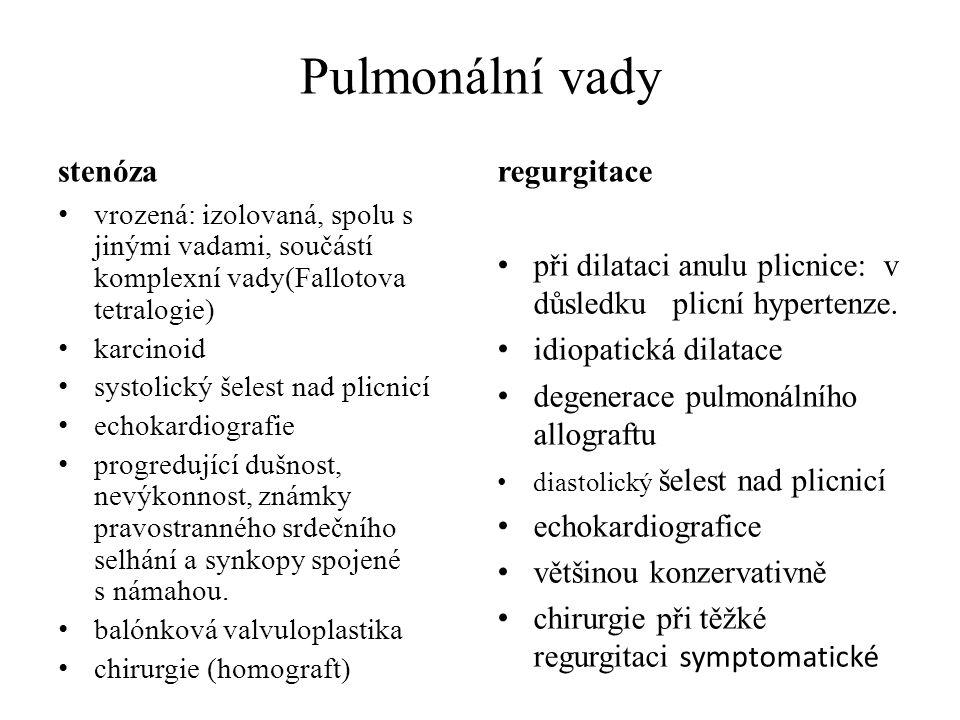 Pulmonální vady stenóza regurgitace
