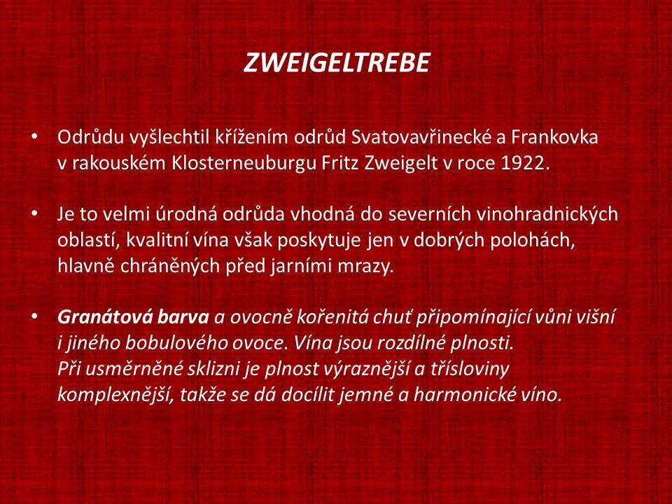 ZWEIGELTREBE Odrůdu vyšlechtil křížením odrůd Svatovavřinecké a Frankovka. v rakouském Klosterneuburgu Fritz Zweigelt v roce 1922.
