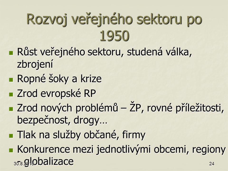 Rozvoj veřejného sektoru po 1950