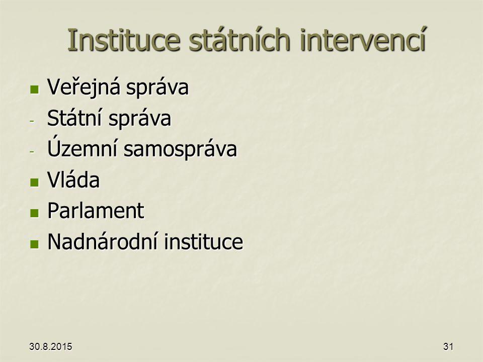 Instituce státních intervencí