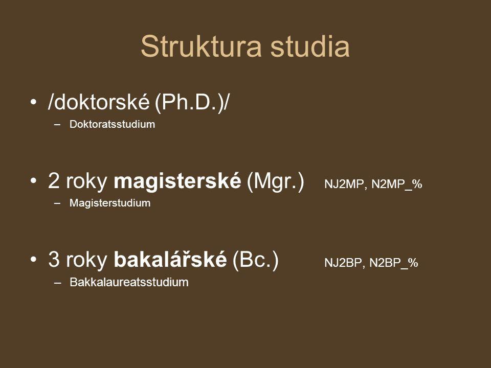 Struktura studia /doktorské (Ph.D.)/