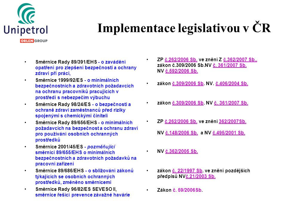 Implementace legislativou v ČR