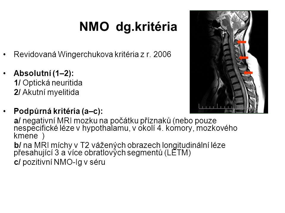 NMO dg.kritéria Revidovaná Wingerchukova kritéria z r. 2006