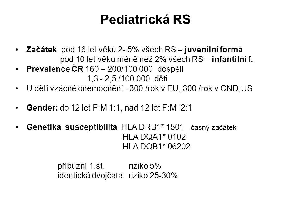 Pediatrická RS Začátek pod 16 let věku 2- 5% všech RS – juvenilní forma. pod 10 let věku méně než 2% všech RS – infantilní f.