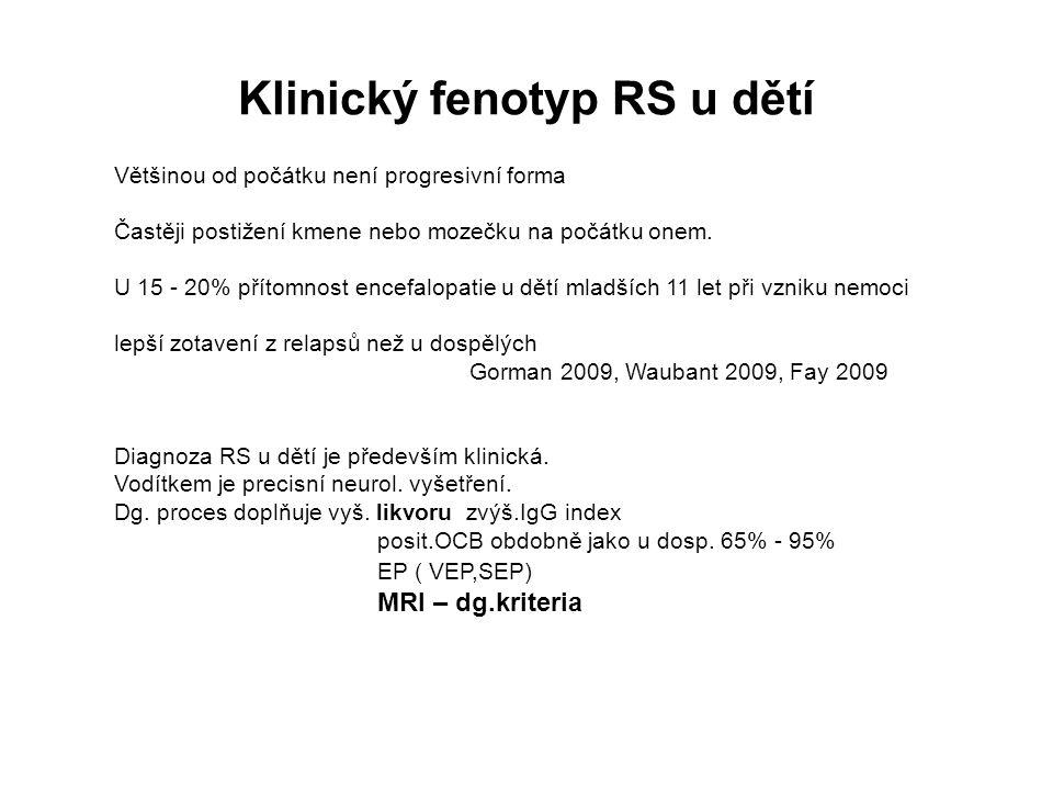 Klinický fenotyp RS u dětí